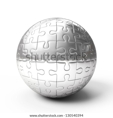 Silver spherical puzzle isolated on white background
