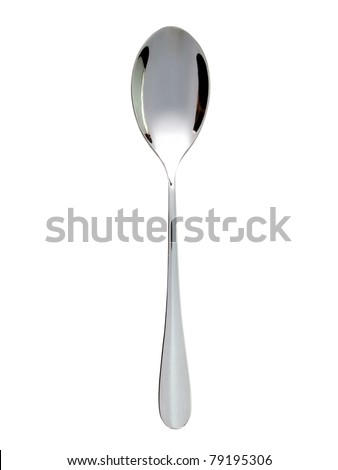 Silver spoon on white background