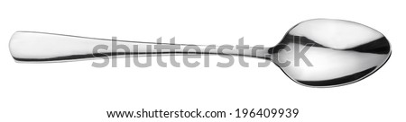 Silver spoon over white. File contains clipping path. #196409939