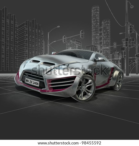 Silver sports car. Original car design. - stock photo