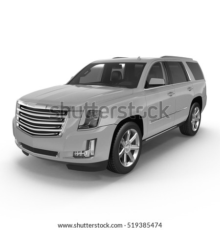 Silver Sports Utility Vehicle Isolated on White. 3D illustration