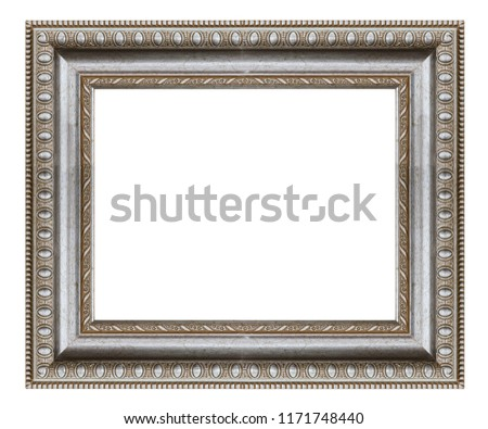 Silver square frame on a white background, isolated