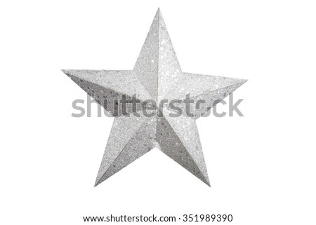 Stock Photo Silver star Christmas tree on white background