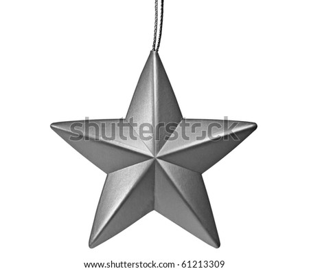 silver star shaped christmas ornament isolated on white