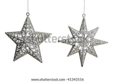 Silver stars hanging on a chain isolated on white shot in studio