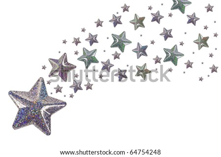 Silver stars isolated on white background - stock photo