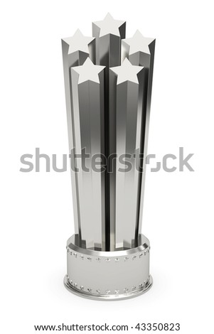 Silver stars prize on pedestal isolated on white. High resolution 3D image