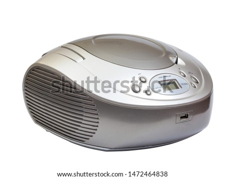 Silver stereo CD radio cassette recorder isolated on white