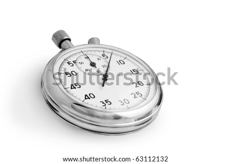 Silver stopwatch isolated on white background