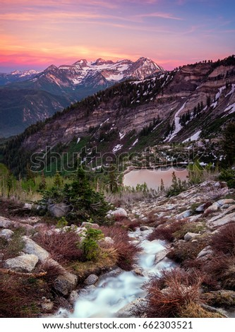 Silver stream in the Wasatch Mountains, Utah, USA. #662303521