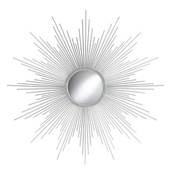 Silver Sunburst Modern Wall Mirror in a Sun-Ray Frame Isolated. Decorative Golden Sun Vintage Art Deco Beveled Round Mirror for Living Room and Bedrooms. Wall Mounted Classic Circular Mirror