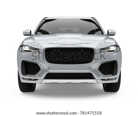 Silver SUV Car Isolated (front view). 3D rendering