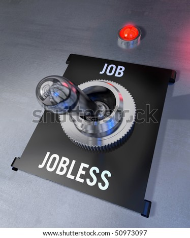 Silver switch in a black casing in Jobless position with a shining red pilot lamp