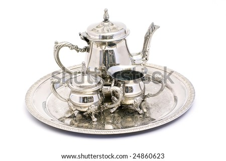 silver tea set Stock photo ©