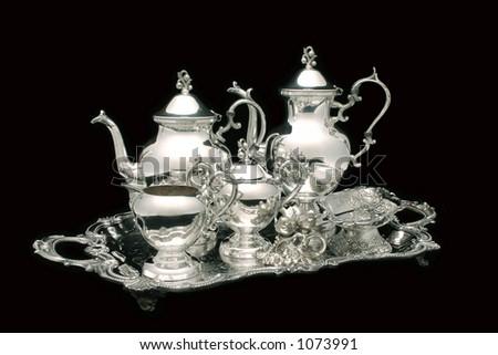 Silver Tea Set on Black Stock photo ©