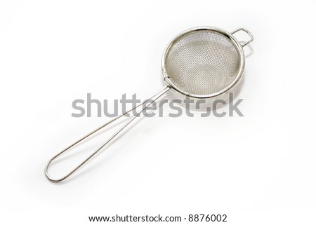 silver tea strainer isolated on white