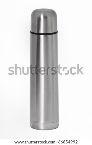 Silver thermos with it's cap attached on a seamless white background