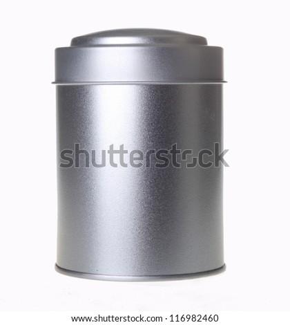 silver tin can - stock photo