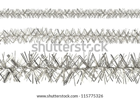 Silver tinsel samples isolated on a white background