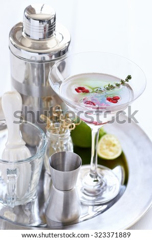 Silver tray holding a martini with pomegranate seeds and thyme sprig and cocktail making equipment tools