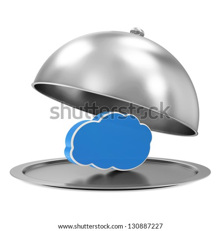 Silver Tray with Cloud Computing Symbol isolated on white background