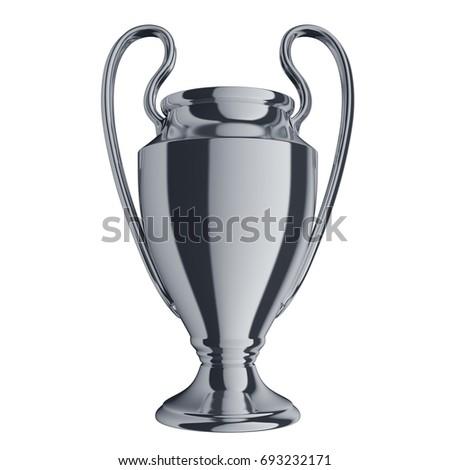 Silver trophy. Football championship 2017. 3d render