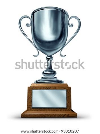 Silver trophy with a blank metal plaque on a white background as a success concept for winning and being first and the best in a sports competition or a business leader that is a victorious champion.