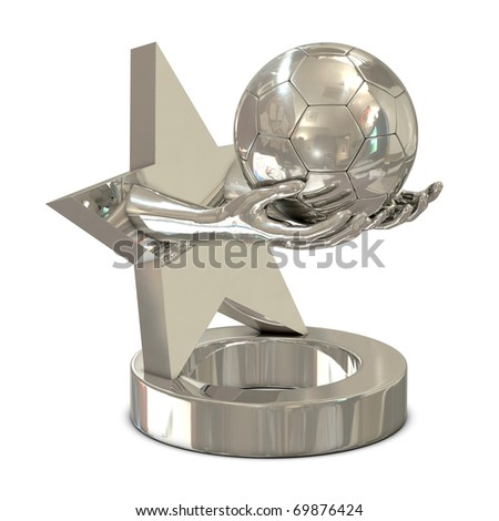 Silver trophy with star, hands and soccer ball isolated on white