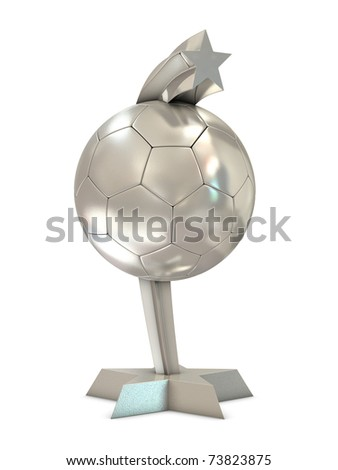 Silver trophy with star through the ball isolated on white background