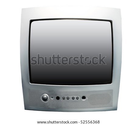 silver tv set isolated on white
