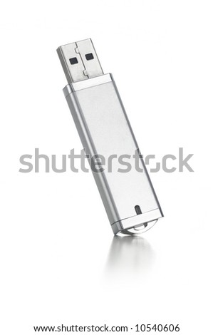 silver USB flash drive on white