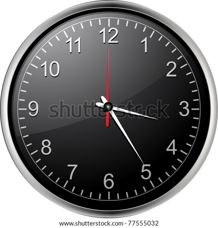 Silver vector wall clock with black face - stock photo