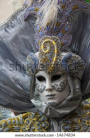 silver venetian carnival mask