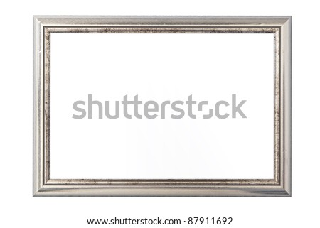 Silver vintage picture frame isolated on white