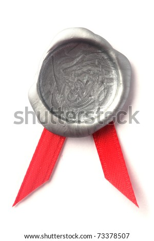 Silver wax seal with red ribbon - stock photo