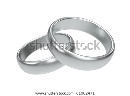 Silver wedding rings on white background