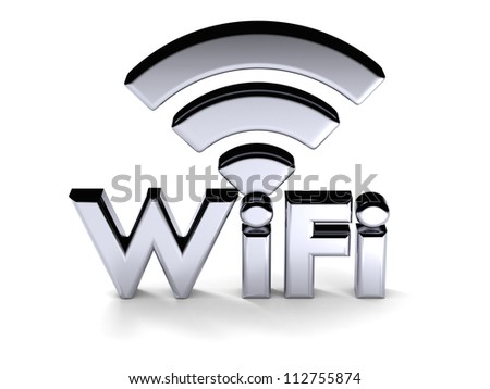 Silver WiFi symbol in three dimensional shape, isolated on white background