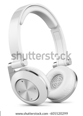 Shutterstock Silver wireless earphones isolated on white background 3d