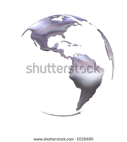 Silver World Earth Map on White Globe