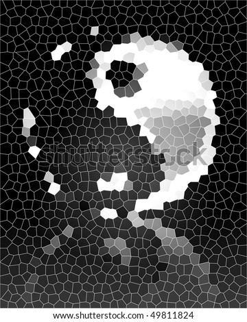 Silver yin yang symbol on a dark background