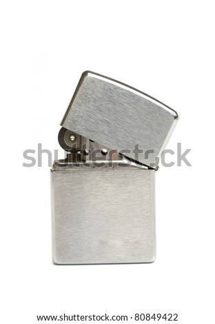 silver zippo lighter isolated on white background