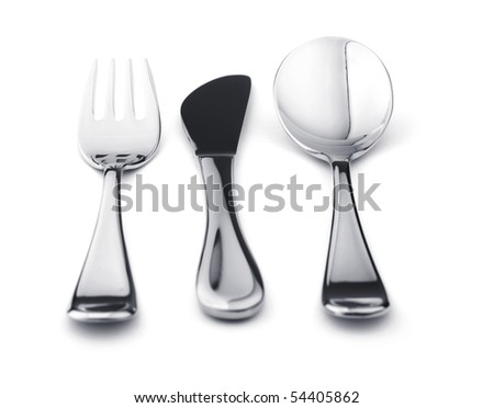 Silverware set - fork, knife, and spoon. Isolated on white background