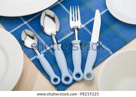 Silverware set on a table setting