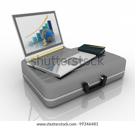 silvery laptop and notepad with pen on black case isolated on white background