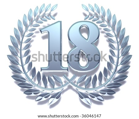 Silvery laurel wreath with number eighteen inside