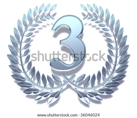Silvery laurel wreath with number three inside