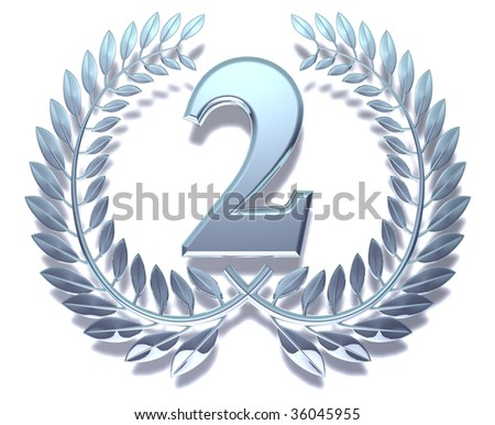 Silvery laurel wreath with number two inside
