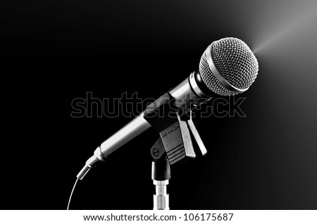 Silvery microphone on black