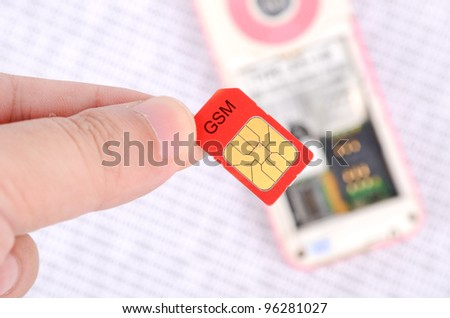 Sim card and cellphone on binary code