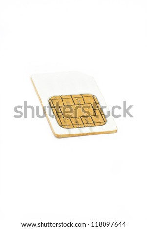 SIM card for cellphone isolated on white background.